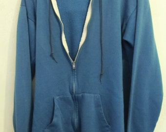 A Men's TRASHY Vintage 70's,Blue Zip Front STONER HOODIE Sweatshirt.M