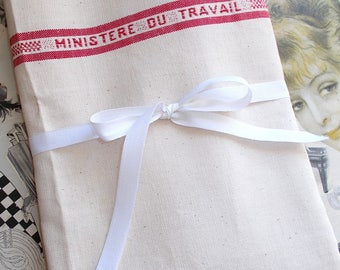Length of Vintage French Tea Towel Fabric. Hand Towel Material. Cream & Red Stripe with Ministere de Travail. Unused NOS
