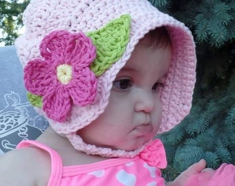 Crochet Baby Summer Fun Sun Hat Bonnet Pattern DIGITAL DOWNLOAD ONLY