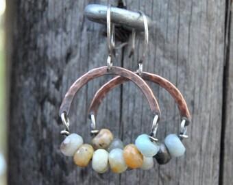 Amazonite Earrings, Copper Earrings, Dangle Earrings, Copper Hoop Earrings, Mixed Metal Earrings