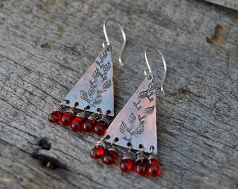 Stamped Copper Earrings, Rustic Earrings, Dangle Earrings, Wire Wrapped Earrings, Red Beads, Triangle Earrings, Rustic Copper Earrings