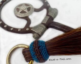 Horsehair tassel / shoo fly tassel/ shu fly tassel/ girth tassel / horse hair tassel thickest double layered  Shu Fly: Hand-dyed TEAL