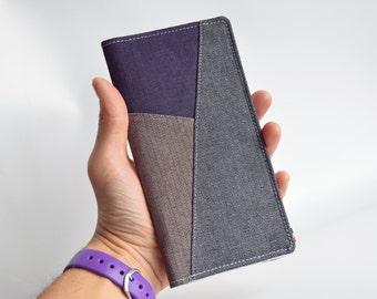 Minimalist wallet for women and men, Vegan wallet, Grey brown and purple heavy cotton