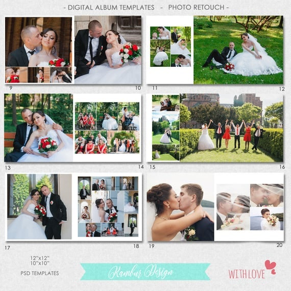 Classic Wedding Album Design: 12X12, 10x10 Inches, PSD (40 Pages), Wedding Album