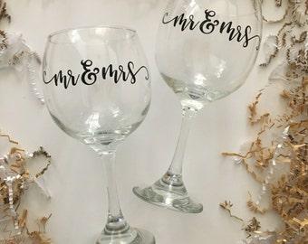 Mr & Mrs Wine Glass Set, Wedding Wine Glasses, Great Gift for a Couple, Bridal Shower Wine Glass, Custom Wine Glasses