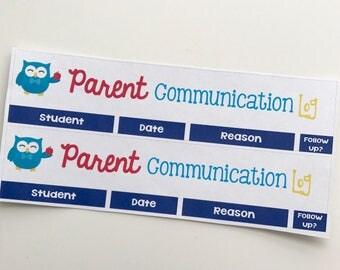 Owl Parent Communication Log Header Stickers    For Erin Condren Teacher Planners