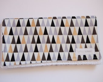 Gold, Black, Mauve & Grey Triangle Burp Cloth