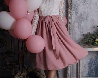 Powder pink skirt, chiffon skirt, tea length skirt, bridesmaid skirt, midi skirt, summer,bridal skirt, knee length skirt, wedding skirt