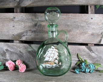 Old Fitzgerald Flagship Decanter, Green Glass with Gold Paint, 1849, Bar & Saloon Decor, Home, Farmhouse and Restaurant Decor