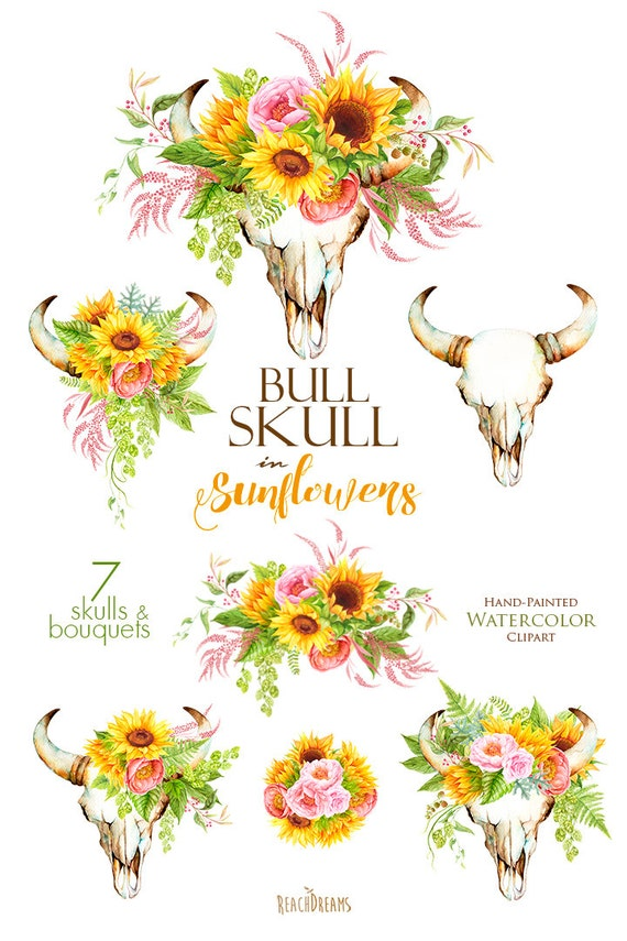 Sunflowers Watercolor Bull Skull With Floral Bouquets