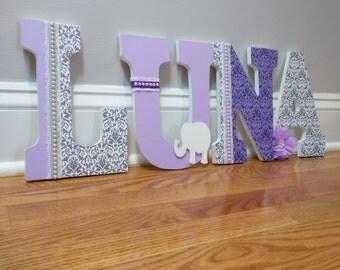 Elephant letters for girl, girl nursery letters, wooden letters, girl nursery with elephants, baby girl decor