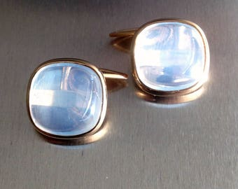Vintage 1970s, Moonstone Cufflinks set in 9ct.gold.