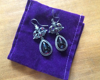 Exquisite Antique Victorian Austro Hungarian Earrings with Cabochon Garnets & Pearls
