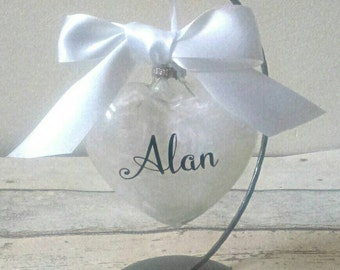 White feathers glass bauble, memorial gift, memory heart, glass bauble, condolence, baby memorial, personalised memorial, pet memorial