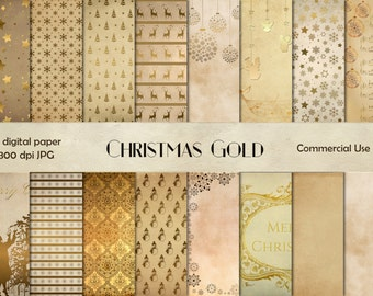 Gold Christmas digital paper, vintage Christmas, Christmas scrapbook instant download, gold Christmas scrapbook, gold Christmas background