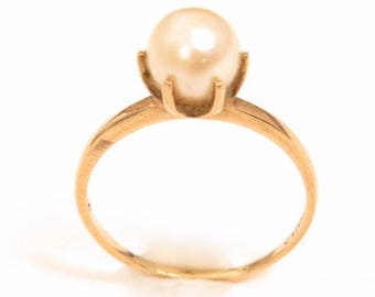 10K Yellow Gold Vintage Solitary 7mm Genuine Pearl Classic Ring*1.7g*Sz7.25*E566