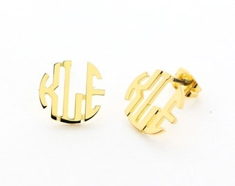 Small Gold Plated Circle Monogram Stud Earrings