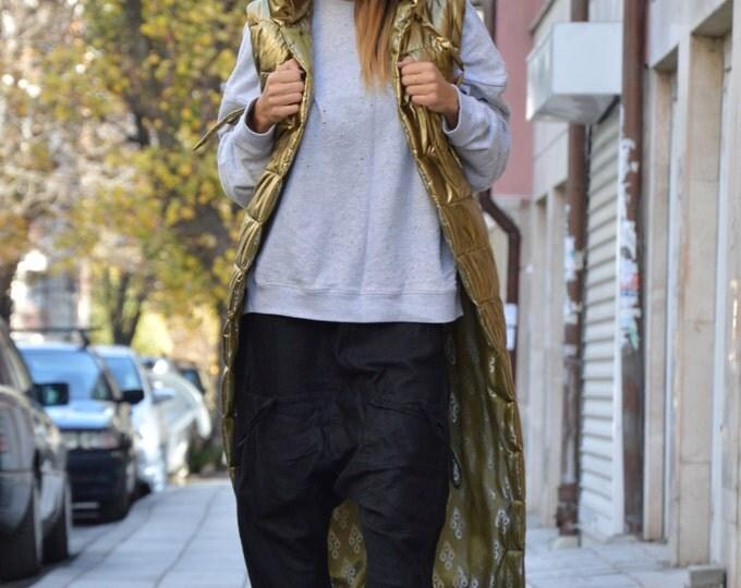 Extravagant Gold Sleeveless Hooded Coat, Oversize Warm Designer Vest, Hoodie Asymmetric Maxi Vest By SSDfashion