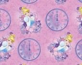 Disney Cinderella Clocks Cotton Woven, Cinderella Fabric, Disney Fabric, Pink Cotton, Cotton Fabric, Cotton Woven, Quilting Fabric