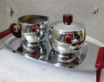 Glo Hill Cream Sugar Tray Chrome Stainless Bakelite Vintage 1950s Midcentury Modern