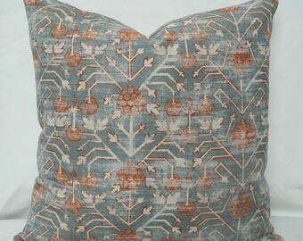 Zak + Fox Khotan in Rubia Designer Decorative Ikat Throw Pillow Cover / Ready to Ship!!