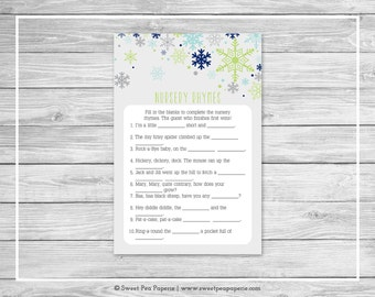 Winter Baby Shower Nursery Rhyme Game - Printable Baby Shower Nursery Rhyme Game - Baby It's Cold Outside Shower - Nursery Rhymes - SP142