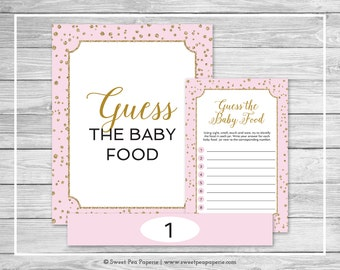 Pink and Gold Baby Shower Guess The Baby Food Game - Printable Baby Shower Guess The Baby Food Game - Pink and Gold Baby Shower - SP145