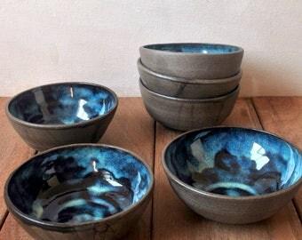Blue Ceramic Bowls, Set of 6,  Fruit Salad Bowl, Dessert Bowl, Ceramic Dinnerware, Salad Bowl, Serving Bowls,  Housewarming Gift