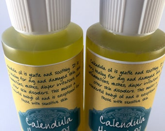 Organic Calendula Herbal Oil, 2 oz., perfect for healing dry skin, eczema, psoriasis, baby's skin, diaper rash and cuts and abrasions