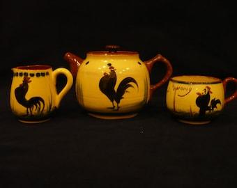 Teapot, Creamer , and Cup, Devon Ware , Torquay