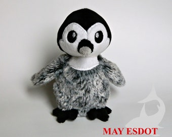 Penguin Plush: Baby Emperor Penguin Plush with Faux Fur, Winter Holiday Plushie