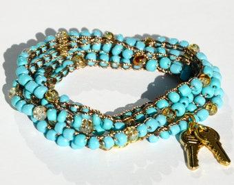 Crochet Wrap bracelet Beaded bracelet Crochet bracelet Beach bracelet Beach jewelry Keys bracelet Turquoise glass bead bracelet womens gift