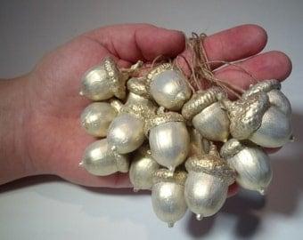 Acorns white nacre, set of 15. Acorn ornaments. Home decor.