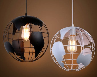 iron cage globe pendant light fixture modern lighting industrial chandelier pendant light kitchen island chandelier kitchen - Globe Pendant Light
