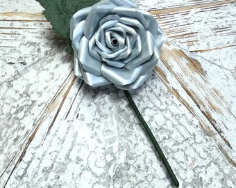 Boutonnière Silver Buttonhole Silver Groom Groomsmen Best Man Wedding Flowers - matching bouquet also available