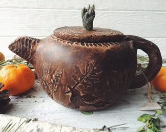 Ceramic kettle, handmade pottery rustic style