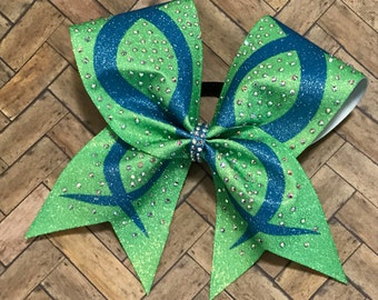 Rhinestone sublimated cheer bow,green ans teal bow, cheerleader gift, cheerleading, Ombre bow, bling cheer bow, cheap cheer bow