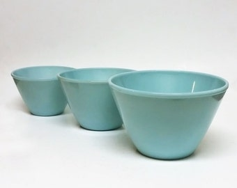 Fire King Complete 3 Piece Turquoise Blue  Mixing Bowl Set
