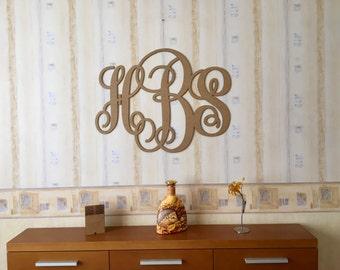 Wall Wooden Monogram Vine Script Monogram, Wood Monogram Letters Wedding Decor Wedding Monogram, Monogram Wall Door Hanger, Initial Monogram