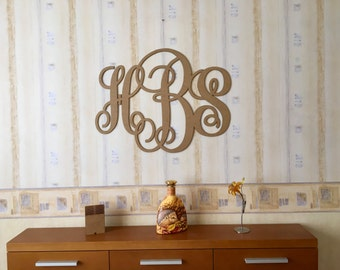 Gold Monogram Vine Script Monogram 3 Letter monogram Wedding