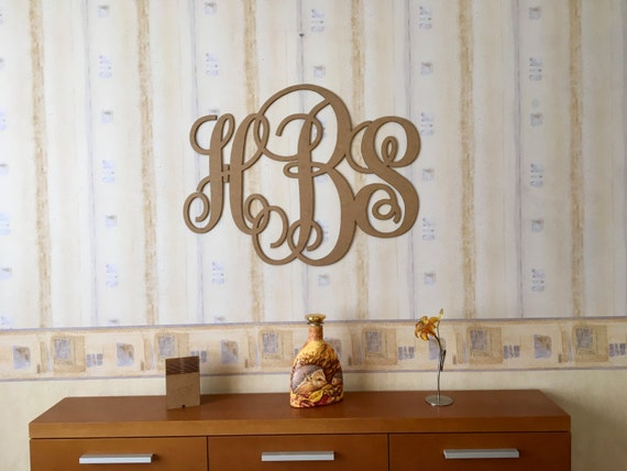 Wall Wooden Wedding Laser Cut Monogram Vine Script Monogram Letters Large Personalized 3 letter Monogram Wall hanging Initials Wall decor