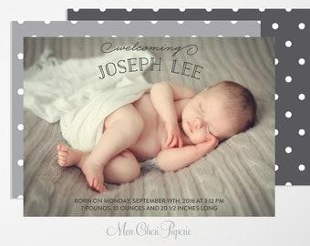 Birth Announcement  - Baby Boy or Girl Birth Announcement - Polka Dot -Digital or Printed