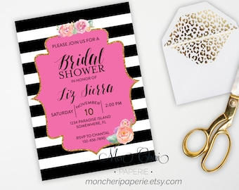 Bridal Shower Invitation with Registry Insert \ Stripe and Floral Bridal Shower \ DIY Printable Bridal Shower