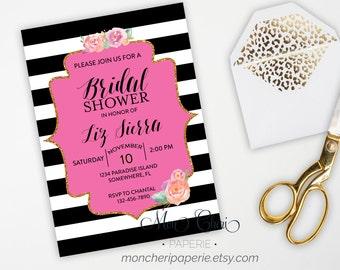 Bridal Shower Invitation with Registry Insert, Stripe and Floral Bridal Shower, DIY Printable Bridal Shower