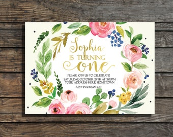 First birthday invitation girls Floral  First birthday invites Garden party watercolor gold foil 1st birthday invitation Boho Birthday