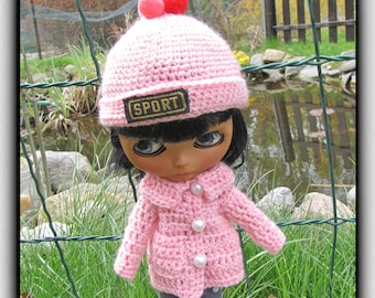Crocheted hat, crocheted coat on Blythe doll free Shipping