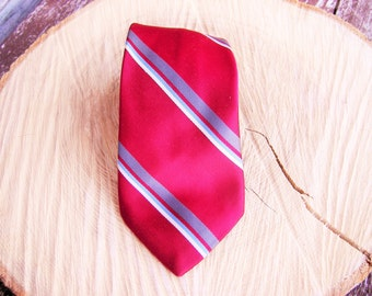Red blue gray and white diagonal striped tie Vintage neckties,Ties Neckties Mens Necktie, Vintage Tie, Vintage necktie, Free Shipping