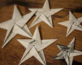 Hand-folded, up-cycled, origami star table decorations - Paper decorations made from vintage 1887 The Boys Own Paper