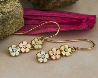 Dreamy Colored Gold Flowers with Natural White Diamonds Earrings, Round Cut Diamonds and Gold Earrings, 14K Gold Earrings, Zehava Jewelry
