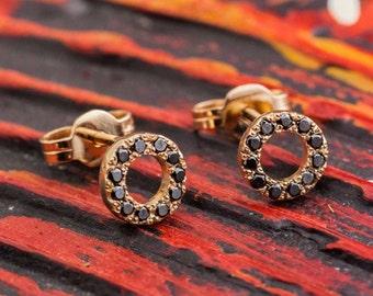 Black Diamond Studs, Round Rose Gold Studs, Diamonds Gold Studs, 14K Rose Gold Earrings, Diamond Earrings,  Zehava Jewelry